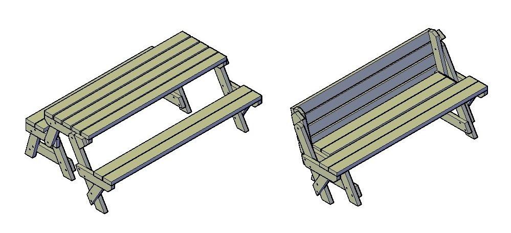 Picknick-Tisch und Bank-Kombination
