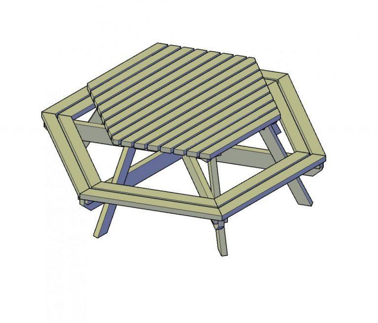 Sechseckiger Picknicktisch selber bauen